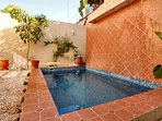 Pull Garden- cool down the 9' x 14' tiled pool in this tropical garden.