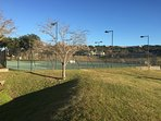 Tennis courts on the island.