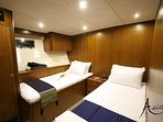 Twin or double beds can be configured. Good length, air-conditioned, ample space, en suite