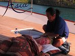 Relax with an amazing Thai or Oil massage on the foredeck or in your cabin...