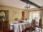 The dining room overlooking the lovely gardens