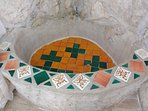 Casitas Kinsol Room #8 - The bathroom with a wall of stones - Hand painted Mexican tiles -