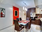Kitchen dining area with decorative wall features