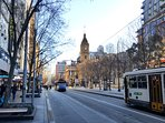 Swanston St trams just around the corner