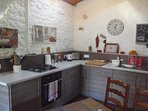 The Gite kitchen, equipped with all you will hopefully need.