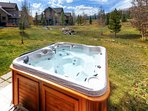 Soak in the privatae hot tub and enjoy the views of Ten Mile Range.