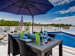 Relax on the wonderful terrace, take a dip in the pool, enjoy the gas BBQ and dining area.