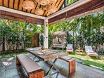 long dining table in Villa Can Barca