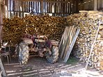 Marcel's wood store and tractor