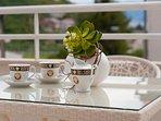 Terrace, outside furniture, cup of tea, apartments Maja (2+2), Dugi Rat
