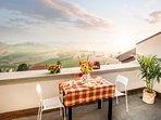 Terrazzo privato con panorama sulle colline del Monferrato
