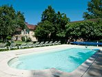 The childproof swimming pool, 10m x 4m, fenced and alarmed,is just 20 meters from your house