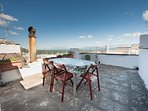 terrace with views of sea, olives trees and monuments of Ostuni