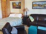 Queen murphy bed, full sleeper sofa. Both with memory foam mattress