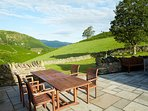 The terrace at Hause Hall with stunning views a great place to relax and enjoy