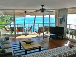 newly updated living room with stunning ocean views