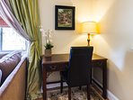 Mahogany Desk Workstation, plan activities, make reservations, perfect laptop area.