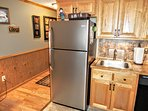 Full-sized stainless steel refrigerator