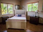 First guest bedroom with a full size bed and tropical views