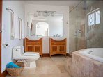 Master bathroom with jet tub, standing shower and his & hers sinks