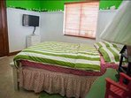 Third guest bedroom with a queen size bed, flat screen TV, on the first floor with tropical views