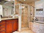 Garden tub and walk in shower in the master bathroom