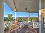 From the massive deck, you can enjoy panoramic views of the lake and the mountains.
