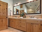 Double vanities makes it easy for 2 to get ready in the morning.