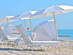 Great private beach free beds and umbrellas , full bar service , from the friendly  beach staff '