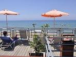 Our beach font sundeck and beach bar