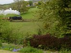 Steam trains from North York Moors Railway which goes past the house.