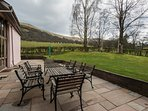 Patio with views to the Brecon Beacons