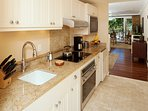 Ocean View Kitchen with Wolf appliances, and granite counters!