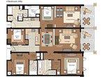 Floor plan when renting both the Studio Villa 202 and it's adjoining 3-bedroom villa 203.