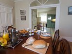 Spacious dining room leading onto well large well equipped kitchen.