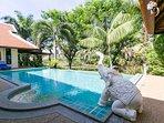 Pool & Stone Elephant