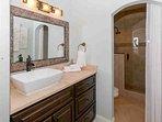 Upgraded master bath with single vanity