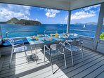 West deck off the kitchen with view of Great Thatch island, Jost van Dyke , Little Thatch and USVI.