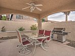 The cabana features a gas grill and is the perfect spot for a barbecue.