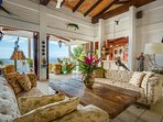 LIving area with wet bar and incredible views of the ocean