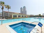 The spacious Pool and Hot Tub part of the Gulfview II Condominium Community.