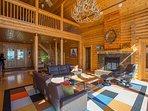 Main floor: Living room with loft overlook