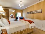 Gold bedroom with comfortable queen mattress and 6' wide panorama of all the resorts in Park City.
