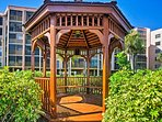 Curl up with a book in this delightful gazebo.
