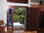 Beautiful front door with gorgeous stained glass at Hokulani Kai in Kapoho, Hawaii