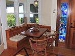 A nice little breakfast nook comes in handy for breakfast or working on your comupter!