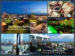 Rooftop restaurants offers seating,food, drinks and beautiful view of the Gulf.