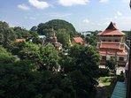 balcony view on our neighbor, the Wat Chaimonkol monastery,