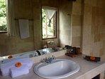 Bathroom with bath, overlooking a jungle
