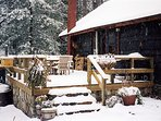 Gently falling snow magically transforms the cabin and forest.